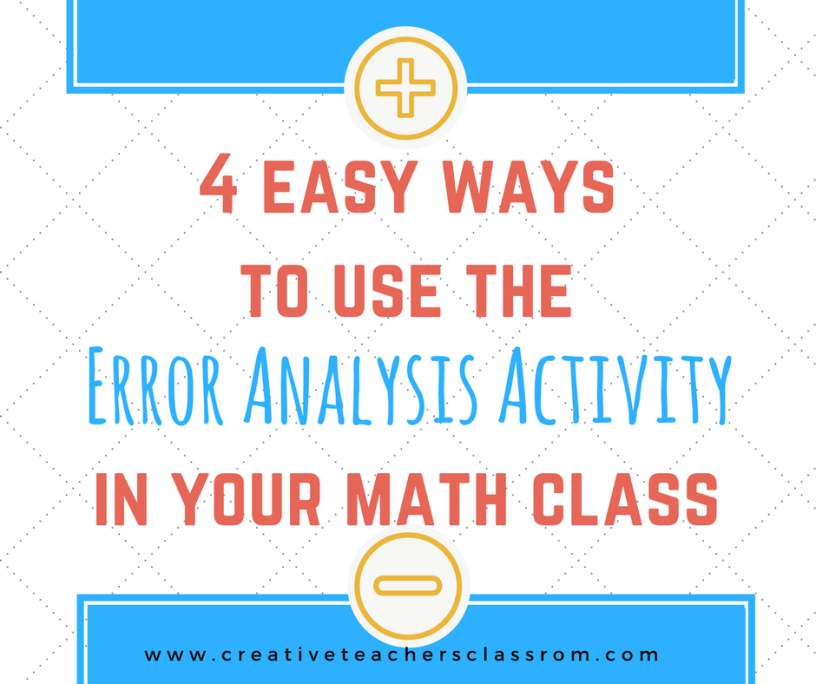 4 easy ways to use the Error Analysis activity in your math